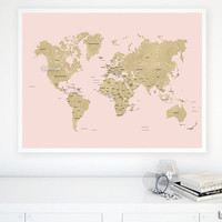 """40x30"""" PRINTABLE world map, gold glitter map with countries and names, gold map, diy travel pinboard map, blush and gold map - map039 003"""