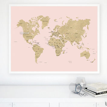 "40x30"" PRINTABLE world map, gold glitter map with countries and names, gold map, diy travel pinboard map, blush and gold map - map039 003"