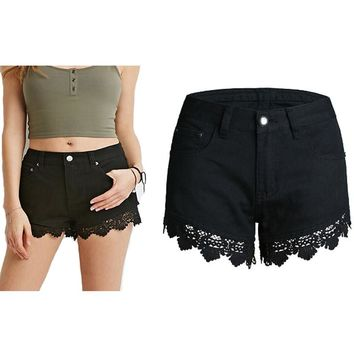 2016 Summer Women Denim Shorts Jeans Female Lace Black Skinny Summer Shorts