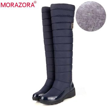 MORAZORA New arrival Russia keep warm snow boots fashion platform fur over the knee bo