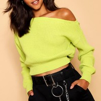 Slash Neck Crop Fisherman Jumper | Boohoo