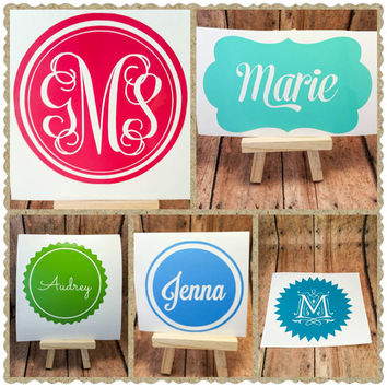 Monogram decal, vinyl name decal, sticker, personalized decal, laptop, car, cell phone, tablet decal, any color, choose font and shape