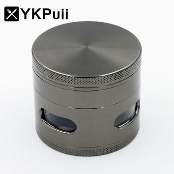 YKPUii 4 Layers Herb Spice Grinder Metal Plate Magnetic 61mm Hand Hookah Pipe Tobacco Smoking Pipe Crusher Smoke Filter