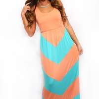 Walk This Way Again Maxi Dress in Tangerine & Turquoise