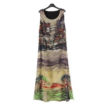 New Fashion Women Sleeveless Silk Chiffon Long Maxi Dress Summer Beach Sundress Popular Dresses