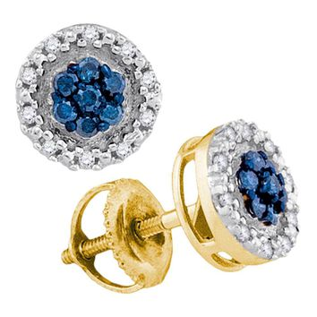 10kt Yellow Gold Womens Round Blue Color Enhanced Diamond Circle Frame Cluster Earrings 1/4 Cttw