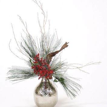 Snow Pine, Red Berries and Driftwood Silver Branches In Hand Hammered Round Vase