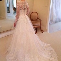 New Long Sleeves White/Ivory Lace Wedding Dresses Bridal Gown Custom Size 2-22++