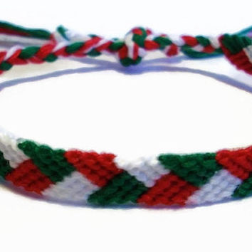 Christmas Colored Braided Pattern Embroidery Friendship Bracelet