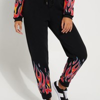 Black Blue Flame High Rise Jogger