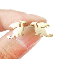 Classic Dragon Silhouette Shaped Allergy Free Stud Earrings in Gold | Animal Jewelry