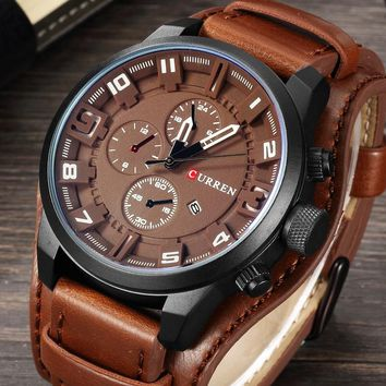 Casual Mens Military Quartz Watch with Leather Band