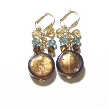 Murano Glass Brown Coin Crystal Cluster Gold Earrings