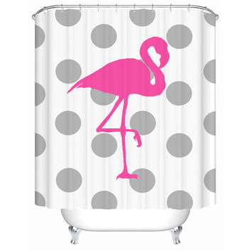 2016 New Pink Flamingo Waterproof Shower Curtain Bathroom Curtain Eco-Friendly High Quality Fabric Shower Curtain Y-059