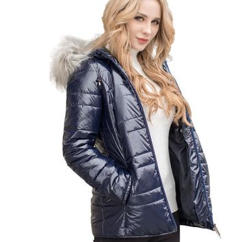Lades jacket New Fashion Parkas Autumn Winter Coats fake fur removable hood stand up collar