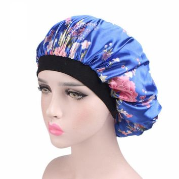 1 PC New Fahion Women Night Sleep Hat Wide Band Hair Loss Chemo Hat Comfortable Satin Bonnet Ladies Turban Caps