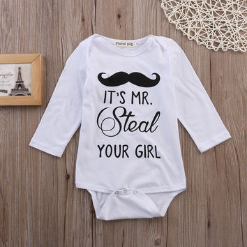 Newborn Baby Boys Girls Infant beard Rompers Playsuit Clothes Outfit boy Summer cotton Playsuit