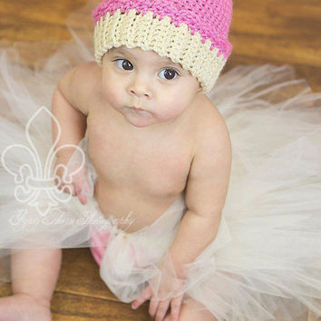 Crocheted Cupcake Hat / Beanie - Newborn, Baby, Toddler, Children