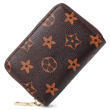 Men's Women's Leather Cute Small Zipper Wallet  RFID Blocking Credit Card Holder