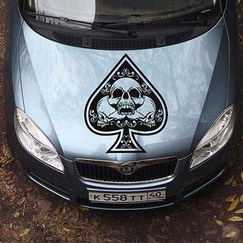 playing cards car hood decal Spades Car Decals Truck playing cards skulls Side Body Graphics Decal Sticker for car ikcar108