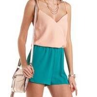 Color Block Surplice Romper by Charlotte Russe - Dark Teal Combo