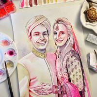 BUDDHIST WEDDING custom GIFT for buddhist couple, buddhist marriage, custom watercolor portrait, buddhism custom art, indian couple gift