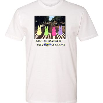 funny easter -give peeps a chance - Tshirt - easter for beatles fans - peeps lovers tshirt - happy easter shirt