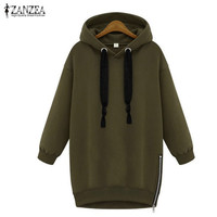 New Arrival 2016 Autumn Zanzea Womens Long Sleeve Hooded Loose Casual Warm Hoodies Sweatshirt 3 Colors Plus Size S-5XL
