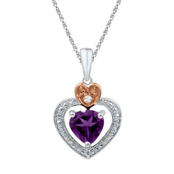 Sterling Silver 2-tone Lab-Created Amethyst & Round Diamond Heart Love Pendant 3/4 Cttw