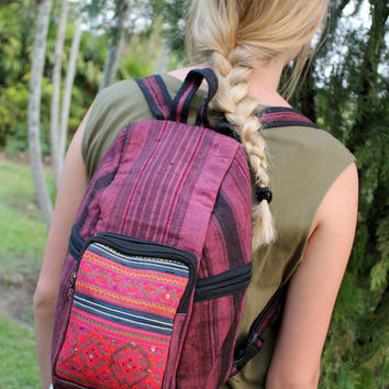 Raspberry Hemp Tribal Backpack Vintage Hmong Batik Embroidery Vegan Unisex