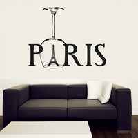 Wall Decal Vinyl Sticker Decals Art Decor Design Sign Paris Eiffel Tower Goblet France Love Heart Country Europe Living Room Bedroom (r407)