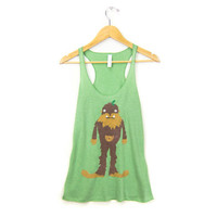 Bigfoot the Squatch - Racerback Hand Stenciled Slouchy Scoop Neck Womens Swing Tank Top in Heather Forest Green & Brown Fur - S M L XL 2XL