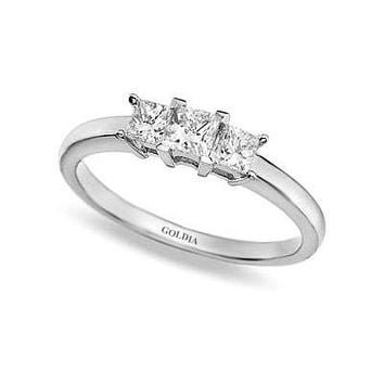 1/2 ct. Princess Cut Diamond White Gold Three-stone Engagement Ring
