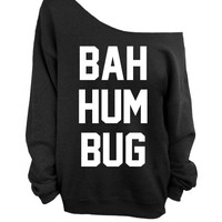 Ugly Christmas Sweater - Bah Hum Bug - Black Slouchy Oversized CREW