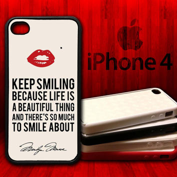 Marilyn Monroe Keep Smiling Quote  -  iPhone 4 and 4s Rubber Protective Case