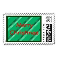 Merry Christmas Green Tartan Custom Postage Stamp