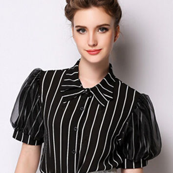 Black Stripe Puff Sleeve Pointed Collar Blouse