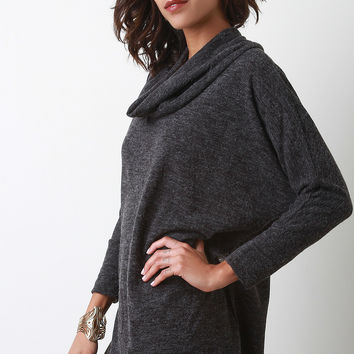 Vent Slit Cowl Neck Sweater Top
