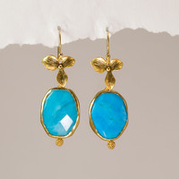 Turquoise earrings Bezel set in 22k Gold Vermeil with Matte Finished 16K Gold Plating Orchid Flowers