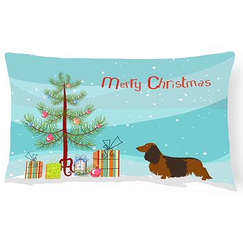 Longhaired Dachshund Christmas Canvas Fabric Decorative Pillow BB8449PW1216