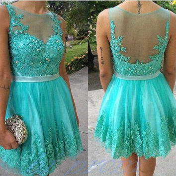 Homecoming Dress,Sleevesless Backless Green Chiffon Short Prom Dress