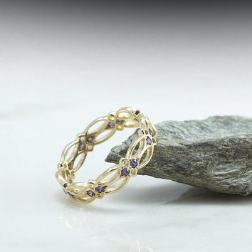 Amethyst Celtic Eternity Ring - Amethyst Ring - purple gemstone Gold Ring - pattern - victorian - gothic