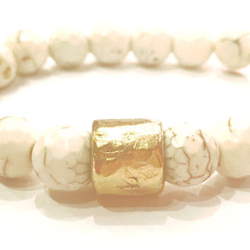Luxe by Virtue Petite Hammer Bracelet- White Turquoise