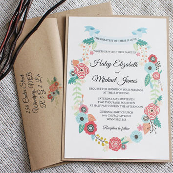 Charmant Rustic Floral Wedding Invitation. Romantic Wedding Invitation. Suite. Rustic  Chic, Wedding Invitation