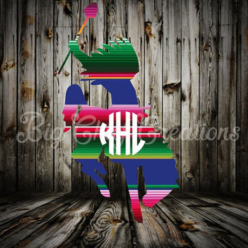 Serape Indian Warrior Monogram Decal