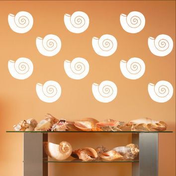 Nautilus Sea Shells Vinyl Wall Decals - Set of 5 Inch Sea Shell Decals 22576