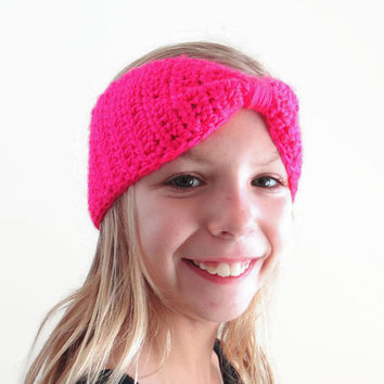 Girls Neon Pink Turban Headband Child Small