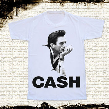 Size S -- JOHNNY CASH Shirts Country Rock And Roll Shirts Rock T Shirts Unisex T Shirts Women T Shirts White T Shirts Johnny Cash T Shirts