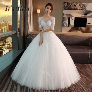 It's Yiiya Half Sleeves O-neck Backless Train Illusion Bride Gown Lace Trailing Wedding Dress Vestidos De Novia Casamento Y8009