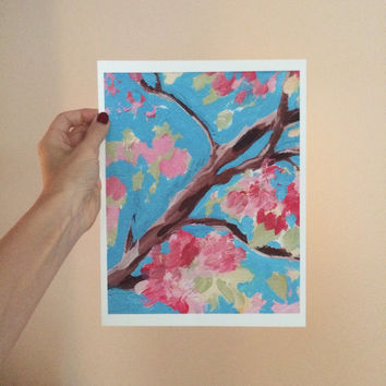 Acrylic Painting Print Art Acrylic Painting Art Painting Print of Flowers Small Painting Print Blue and Pink Wall Art Free Shipping to US